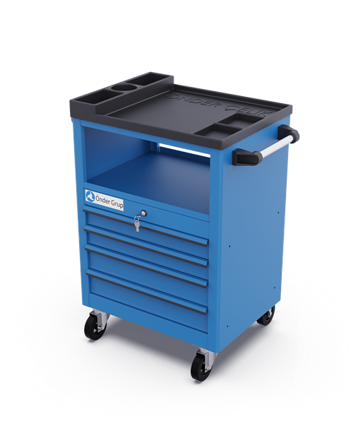 Mobile Drawer System 4 Drawers + Above Shelf