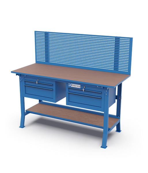 Workbenches – Perfo Panel + Double Drawer Cabinets