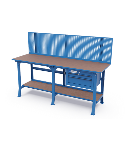 Long Workbenches – Perfo Panel + 2 Drawers