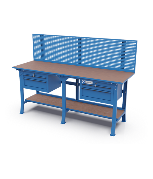 Long Workbenches – Perfo Panel + Double Drawer Cabinets